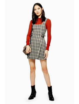 Petite Check Buckle Pinafore by Topshop