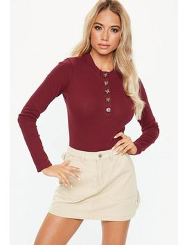 Burgundy Horn Button Long Sleeve High Neck Bodysuit by Missguided