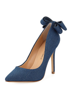 Verity Metallic Denim Bow Pumps by Neiman Marcus