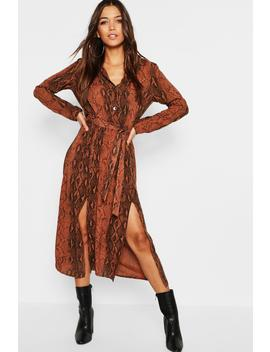 Chocolate Snake Button Through Midi Dress by Boohoo