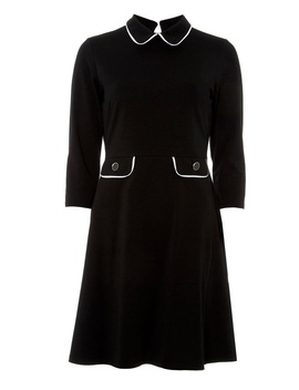 Black Piped Collar Fit And Flare Dress by Dorothy Perkins