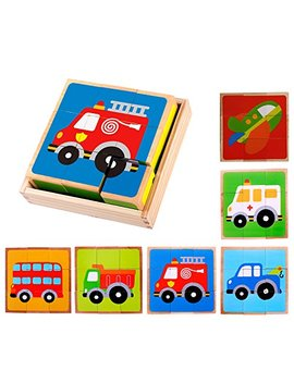 Premium Wooden Vehicle Block Puzzle (6 In 1) With Storage Tray For Toddlers Age 3 And Up, Preschool Kids W/ Colorful Solid Wood Cube Pieces   Fire Truck, Airplane, Dump Truck, Ambulance, Bus by Cubbie Lee