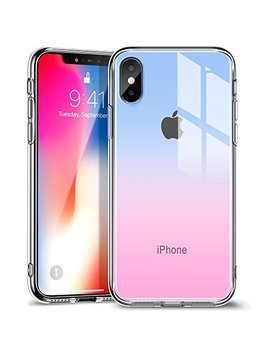 Esr I Phone X Case, 9 H Tempered Glass Back Cover Case [Anti Scratch] With Soft Silicone Bumper For Apple I Phone X (Red Blue) by Esr