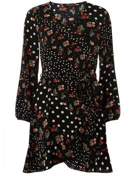 **Black Spotted Ruffle Wrap Dress by Dorothy Perkins