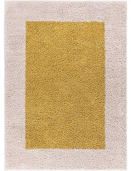 Porta Border Modern Geometric Shag 5x7 ( 5' X 7'2'' ) Area Rug Gold Beige Plush Easy Care Thick Soft Plush Living Room by Rug Lots