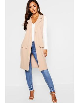 Petite Sleeveless Pocket Detail Longline Duster by Boohoo