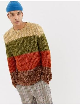 Asos Design Heavyweight Knitted Stripe Jumper In Brown by Asos Design