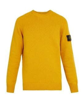 Crew Neck Wool Blend Sweater by Stone Island