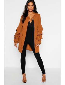 Collarless Rouche Sleeve Duster by Boohoo