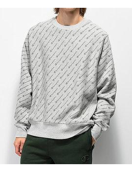 Champion Reverse Weave All Over Print Grey Crew Neck Sweatshirt by Champion