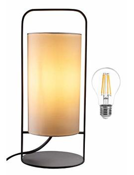 Wanfir Bedside Table Lamp, Included Bulb : Modern Bedside Fabric Lampshade 420 Lumens W/Warm Retro Light|Classy, Long Lasting 4 W Led Lamp For Bedroom, Kids' Room & Table|Top Gifting Idea by Wanfir