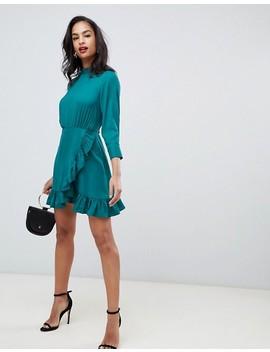 Asos Design Wrap Front Mini Dress With High Neck by Asos Design