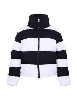 **Monochrome Stripe Puffer Jacket By Glamorous by Topshop
