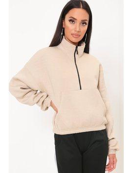 Camel Zip Through Ponte Sweatshirt by I Saw It First