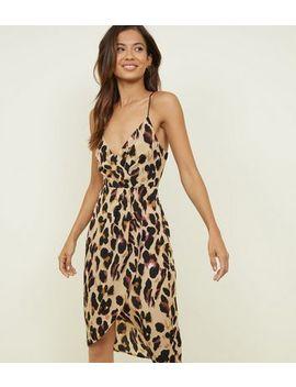 Blue Vanilla Tan Leopard Print Wrap Slip Dress by New Look