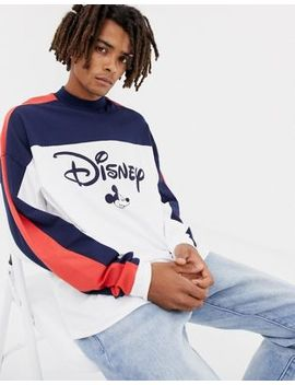Asos Design Mickey Oversized Long Sleeve T Shirt With Color Block Panels And Turtleneck by Asos Design