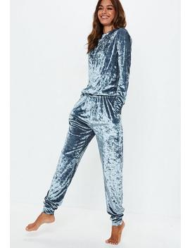 Grey Velvet Loungewear Tracksuit by Missguided