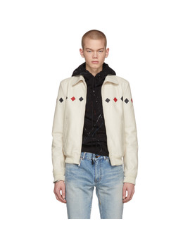 White Leather Bomber Jacket by Saint Laurent