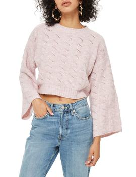 Pointelle Crop Sweater by Topshop