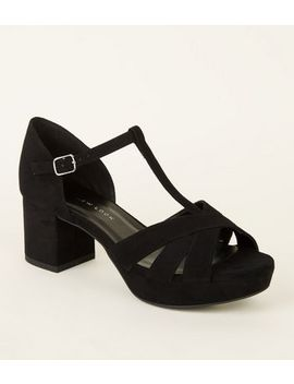 Girls Black Suedette T Bar Heeled Sandals by New Look