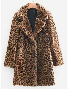 Leopard Print Teddy Coat by Sheinside