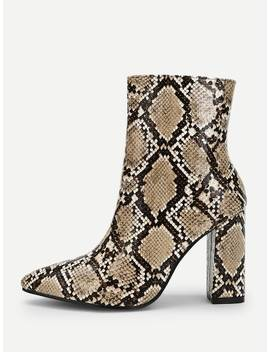 Snakeskin Print Point Toe Ankle Boots by Sheinside