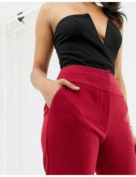 Forever New High Waisted Belted Tailored Trousers In Red by Forever New