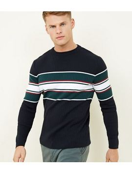 Navy Ribbed Colour Block Crew Neck Jumper by New Look