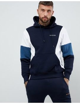 Nicce Union Panelled Hoodie In Navy by Nicce London