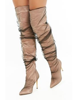 Mesh Stiletto Over The Knee Boots by Forever 21