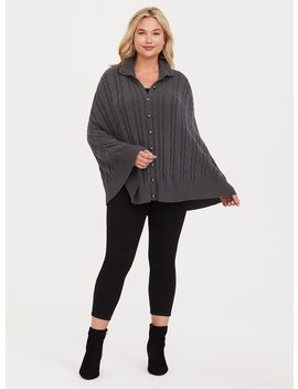 Grey Cable Stitch Capelet by Torrid
