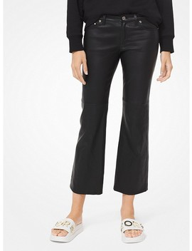 Izzy Leather Cropped Flared Pants by Michael Michael Kors