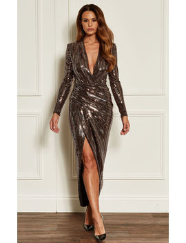 Rose Gold Deep V Wrap Over Sequin Dress by John Zack