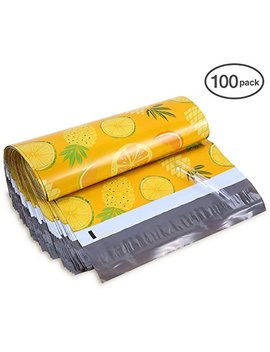 10x13 100 Pack Pineapple & Orange Designer Poly Mailers, Ohuhu Christmas Shipping Envelope Mailer Bags Sealed Christmas Holiday Gifts Boutique Custom Bag Xmas Mailer Packages W/Adhesive Strip, Yellow by Ohuhu