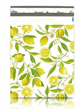 "Pack It Chic   10"" X 13"" (100 Pack) Lemon Citrus Floral Poly Mailer Envelope Plastic Custom Mailing & Shipping Bags   Self Seal (More Designs Available) by Pack It Chic"
