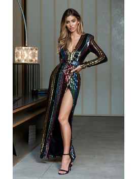 Multi Stripe Sequin Wrap Front Maxi Dress by Club L London