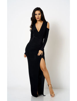 Black Cold Shoulder Wrap Dress by Club L London
