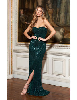 Green Sequin Bandeau Fishtail Maxi Dress by Club L London