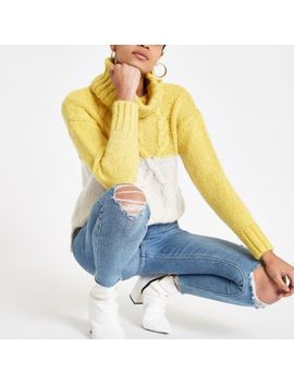 Yellow Colour Block Knit Roll Neck Jumper by River Island