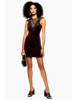Velvet And Lace Mini Dress by Topshop