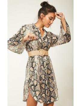 Animal Snake Skin Print Shirt Dress With Belt by Urban Touch
