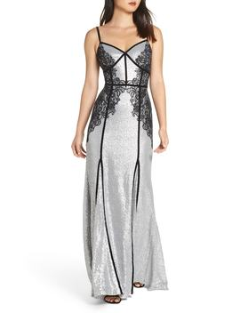 Sleeveless Sequin & Lace Gown by Tadashi Shoji