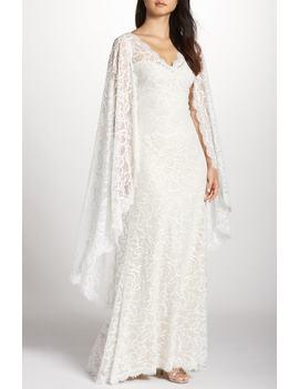 Cape Detail Lace Gown by Tadashi Shoji