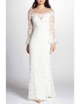 Bell Sleeve Lace Gown by Tadashi Shoji