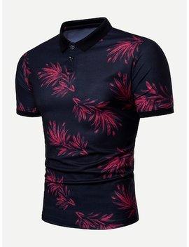 Men Leaf Print Polo Shirt by Sheinside
