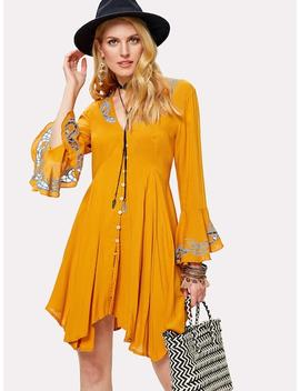 Eyelet Embroidered Button Up Hanky Hem Dress by Shein
