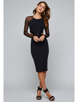 Melanie Mesh Cutout Dress by Bebe