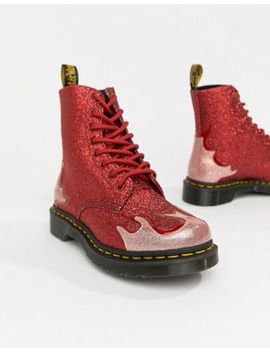Dr Martens 1460 Pascal Red Glitter Flame Flat Ankle Boots by Dr Martens