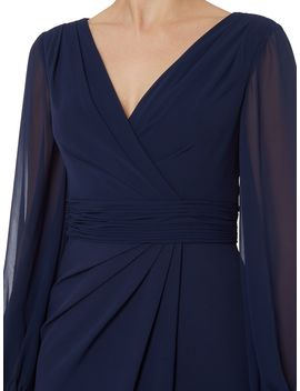 V Neck Long Sleeve Gown by Js Collections