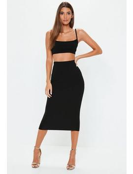 Black Cami Top Skirt Co Ord Set by Missguided